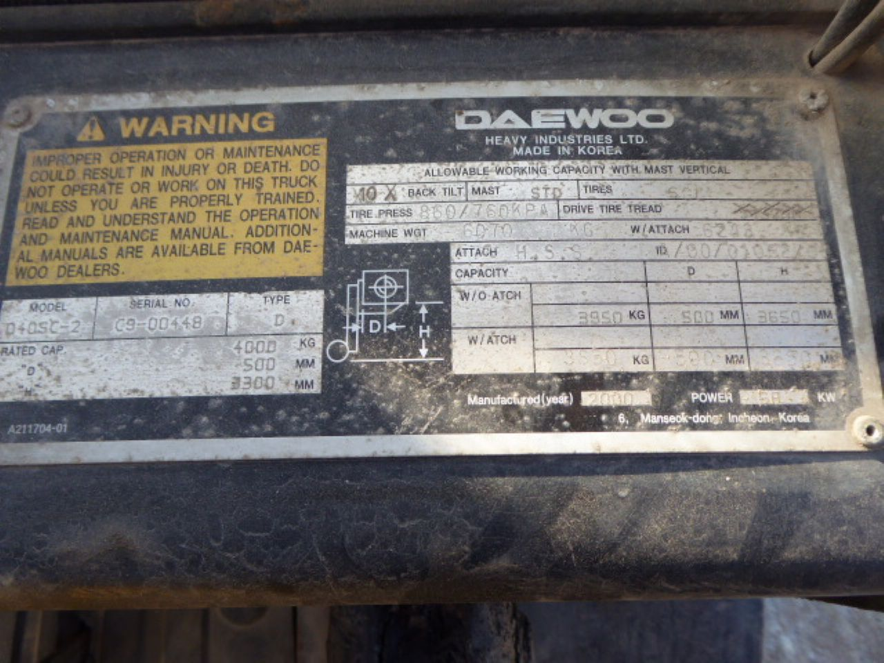 DAEWOO D40SC-2 FORKLIFT - Picture 7