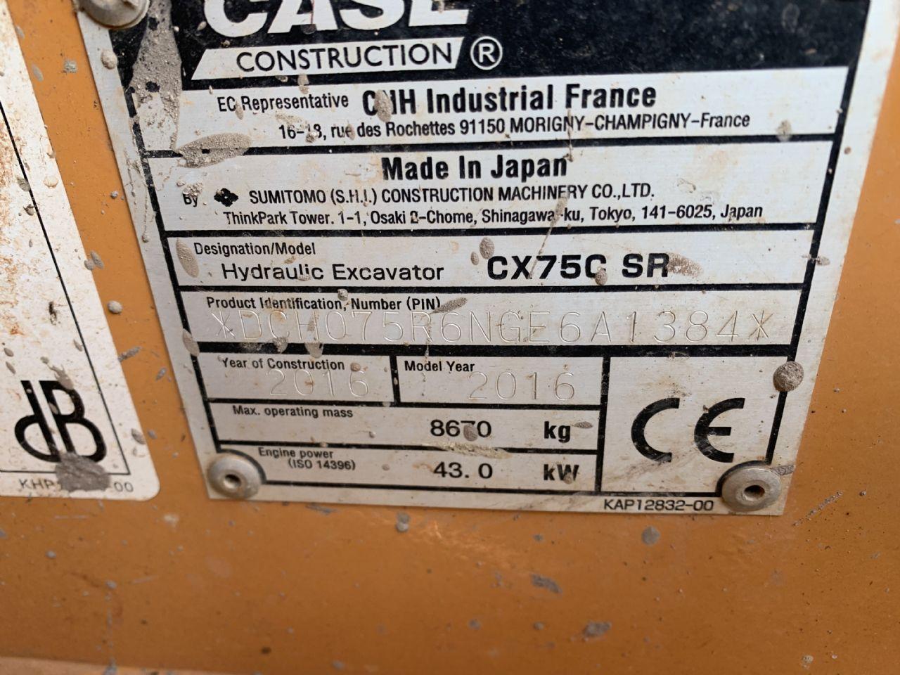 CASE CX75C SR EXCAVATOR - Picture 8