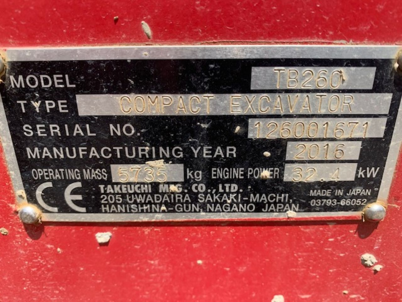 TAKEUCHI TB260 EXCAVATOR - Picture 6
